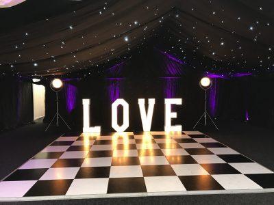 LOVE and dancefloor lighting wedding Cheshire