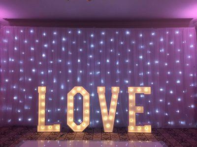 Lighting and backdrop wedding Cheshire