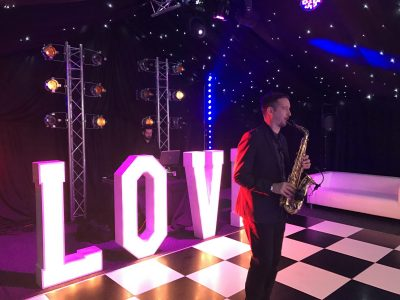 Sax and lighting wedding Cheshire