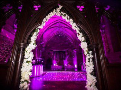 Lighting, white LED dancefloor Peckforton Castle Cheshire