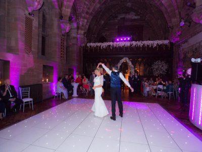 Lighting, white LED dancefloor Peckforton Castle Cheshire Manchester