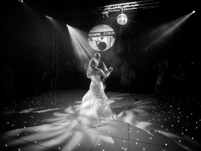 LOVE and mirror ball Wrenbury Hall wedding Cheshire