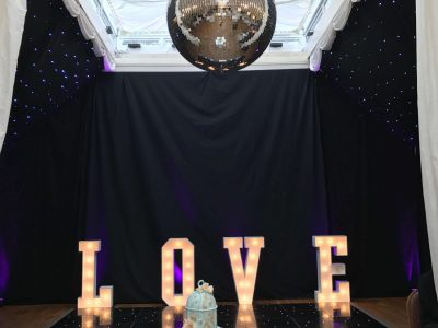 LOVE letter hire Cheshire Black Dance Floor Hire