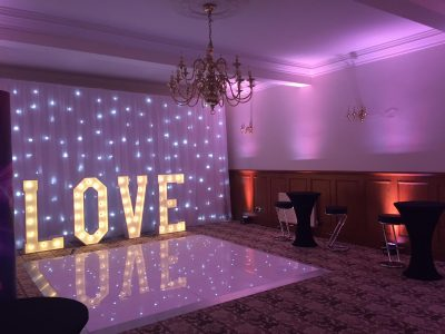Nunsmere Hall LED Dance floor, LOVE & star lit backdrop