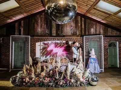 Mirror ball wedding lighting Cheshire