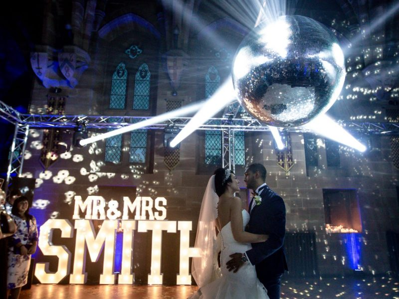 Mirror ball wedding lighting Cheshire