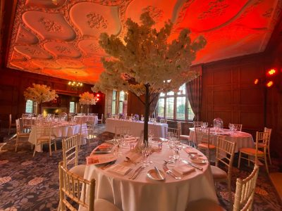 Red Uplighting Hire at Inglewood Manor