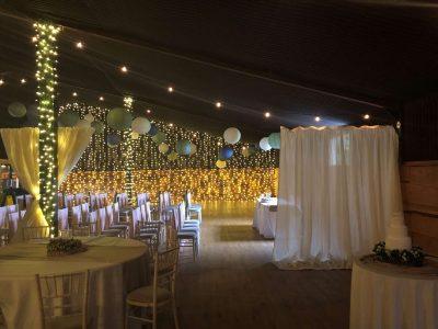 Stock Farm fairy light post, festoon lights and diving curtain