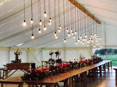 Festoon lighting Cheshire wedding