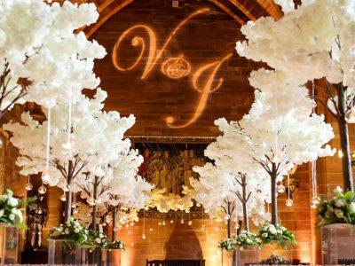 Gobo lighting and aisle carpet wedding Cheshire