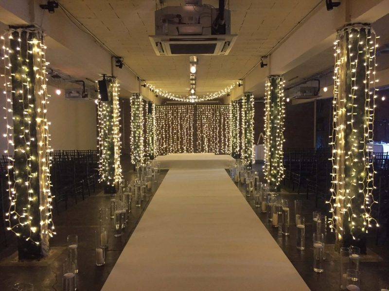 Fairy Lighting Hire Manchester Wedding Aisle Carpet