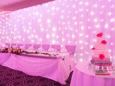 White Star Cloth Pink Lighting Hire Cheshire