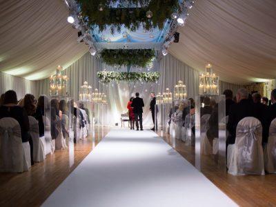 white aisle carpet wedding Cheshire