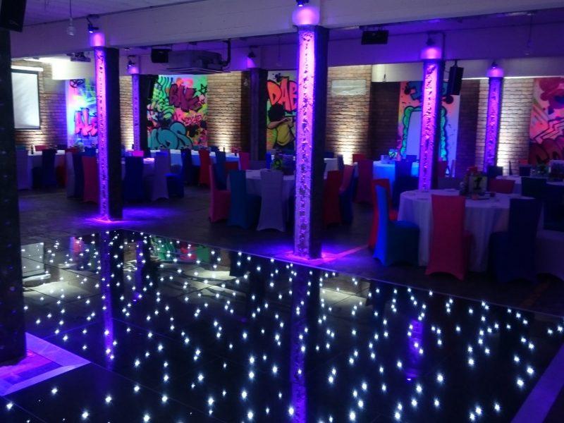 Black LED dancefloor hire Cheshire, Manchester