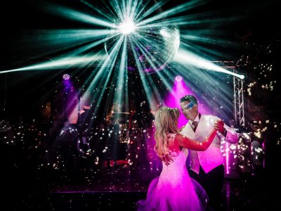 Wedding venue lighting Peckforton Castle Cheshire